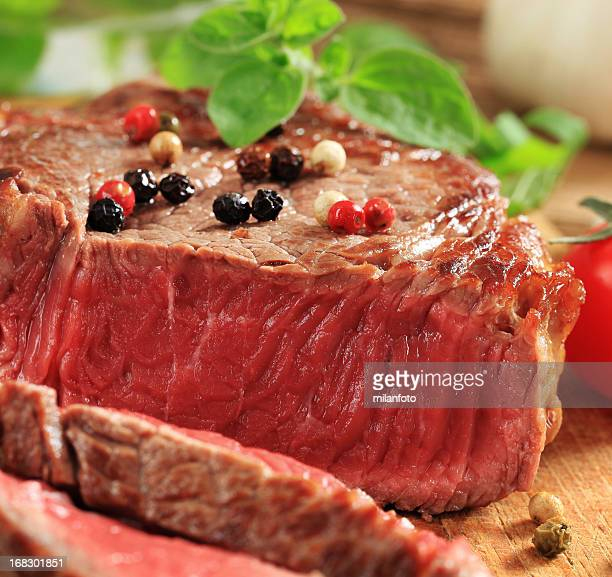 Rare beef steak