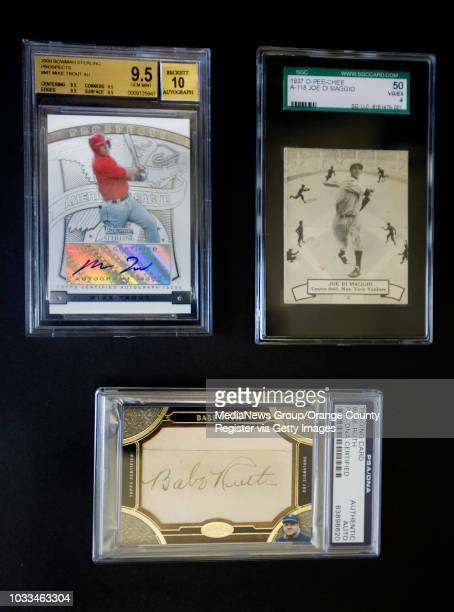 Rare collectable cards at Ian Taylor's Buena Park store include Mike Trout from top left Joe DiMaggio and Babe Ruth ///ADDITIONAL INFO Photo by MINDY...