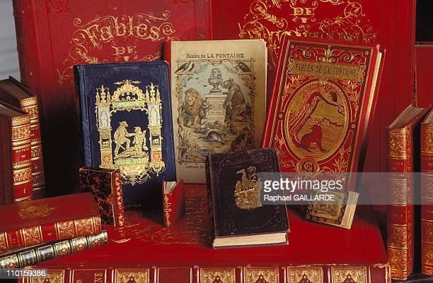 Rare editions of the fables at The Tercentenary of Death of Jean De La Fontaine in France in April 1995
