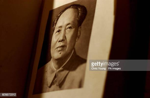 A rare first edition copy of Chairman Mao Tsetung's 'Little Red Book' lies on a table at Bonhams auction house in central London The book printed in...
