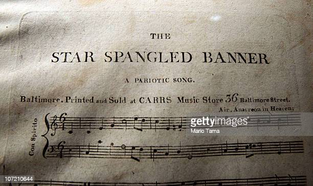 A rare first edition of the sheet music of the 'Star Spangled Banner' estimated at $200000$300 is displayed at a press preview for the Fine Printed...