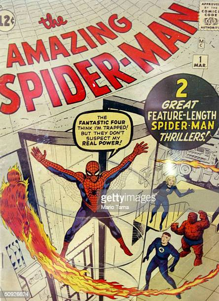 A rare first issue of The Amazing SpiderMan comic book series valued around $30000 is seen at a press preview for the Big Apple Comic Book Art and...