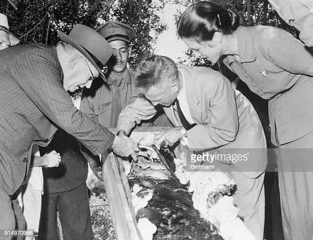 Rare Fish Caught and Preserved Capetown South Africa Prof JLB Smith shows South African prime minister Malan the prehistoric fish of the suborder...