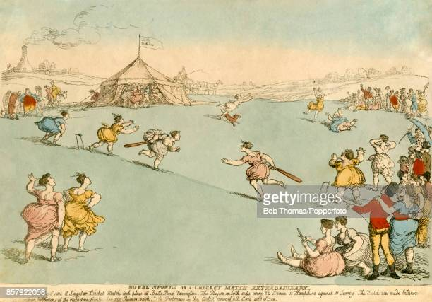 A rare hand coloured etching featuring an early 19th Century women's cricket match being played on Wednesday October 3rd 1811 at Balls Pond in...