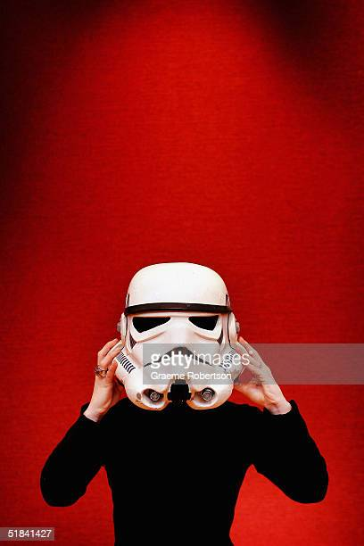 A rare Imperial Stormtroopers helmet used in Star Wars and The Empire Strikes Back films is seen on preview display at the Christies annual film and...