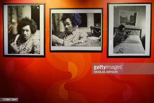 """Rare Jimi Hendrix photographs is on display at the Marquee club in London 16 September 2004. """"The Jimi Hendrix Experience"""" exhibition for the world's..."""