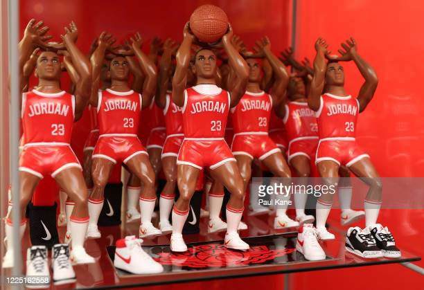 Rare Ohio Art Lil' Sport Michael Jordan HORSE basketball figure prototypes that never went into full production are seen as part of the collection by...