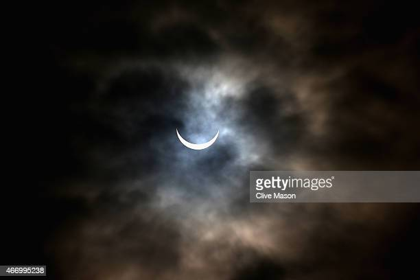 A rare partial solar eclipse is seen over Northamptonshire on March 20 2015 in Northampton England