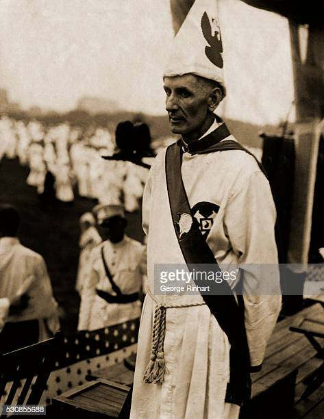 A rare photograph of Grand Kleagle LA Mueller of Washington the man who had charge of all arrangements for the Ku Klux Klan's peaceful invasion of...