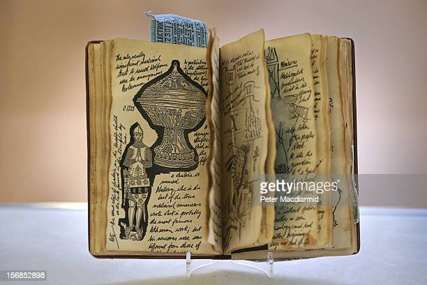 A rare prop facsimile manuscript book known as the 'Grail Diary' from Indiana Jones And The Last Crusade is shown at Christie's on November 23 2012...