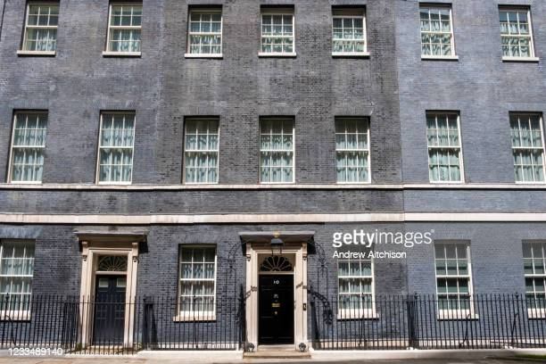Rare ray of sunshine hits the main front door of number 10 Downing Street, the home of the British Prime Minister on the 25th of May 2021 in...