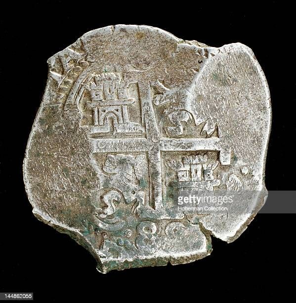 Rare Silver Coin Spanish America King Charles II Spanish Coat of Arms 8 Reales struck Potosi Mint Alta Peru 1688