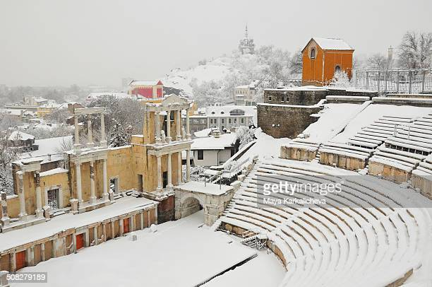 CONTENT] Rare snowcovered view of Roman amphiteatre of city of Plovdiv Bulgaria