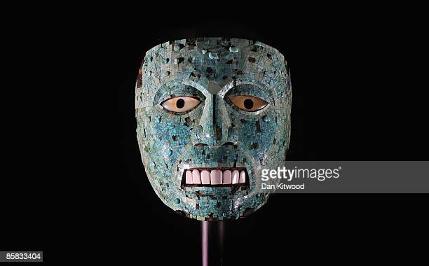 A rare turquoise mosaic mask is displayed at The Britrish Museum on April 7 2009 in London England The Aztec mask originally from Mexico will be one...