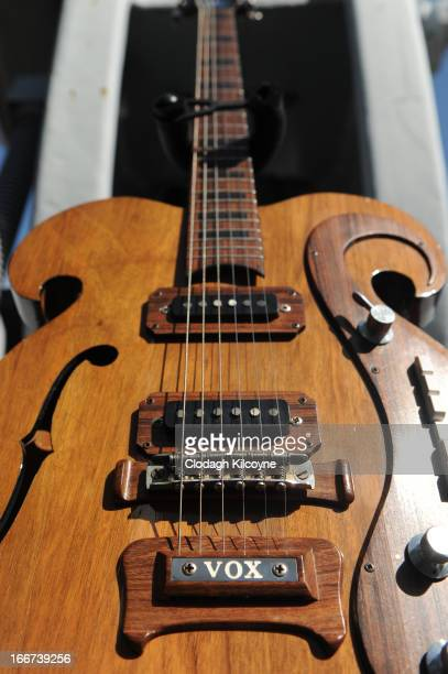 A rare Vox guitar played by George Harrison and John Lennon is exhibited at the Newbridge Silverware Museum of Style before being auctioned off at...