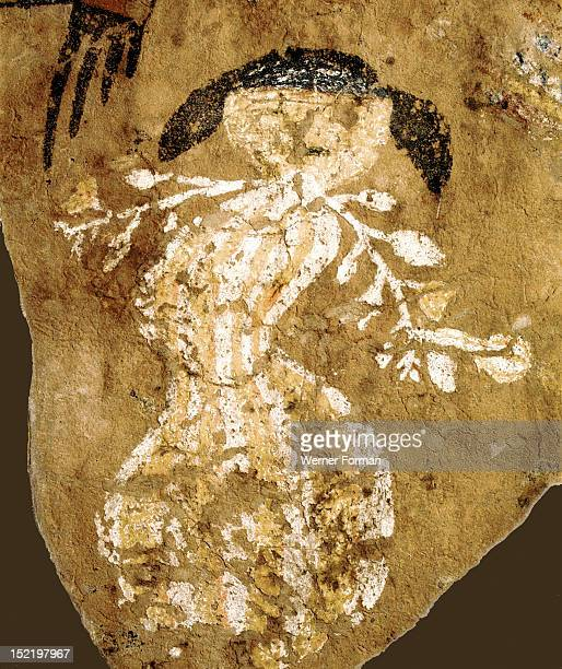 Rare wall painting depicting a woman dancer holding twigs From a kiva USA Anasazi Late prehistoric / early historic