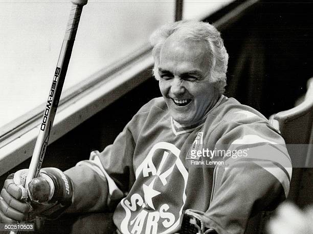 Raring to go Henri Richard the Pocket Rocket grins during a rest at a workout by the NHL AllStars who take on Team Canada '72 tonight at Maple Leaf...