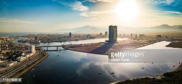 ras al khaimah emirate in the uae aerial skyline view - ras al khaimah stock pictures, royalty-free photos & images