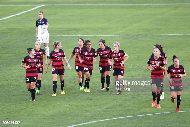 Rasamee Phonsongkham of the Wanderers celebrates with team mates after scoring a goal during the round 12 WLeague match between the Western Sydney...