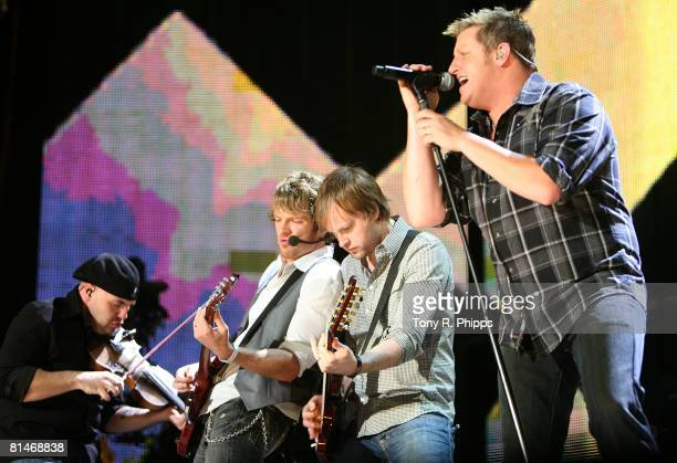 Rascal Flatts perform onstage during the VAULT Concert Stages during the 2008 CMA Music Fes tival on June 5, 2008 at LP Field in Nashville, Tennessee.