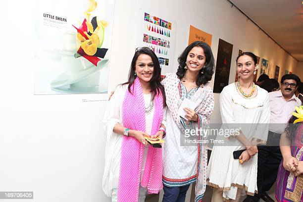 Raseel Gujral Kalyani Naravane and Anupreet Duggal Bhalla during showcasing of graduating works of Fashion Communication Department students from...