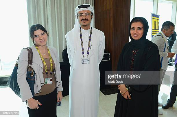Rasha Awada Doha Film Institute CEO Abdulaziz Bin Khalid AlKhater and Fatma Al Remaihi attends at the Filmmakers Brunch during the 2012 Doha Tribeca...