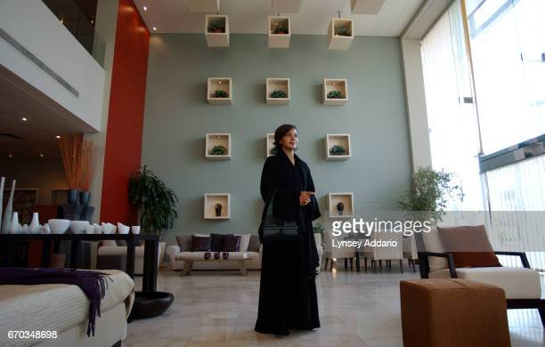 Rasha Hoshan a Saudi designer who recently spoke before the European Parliment in Brussels stands in her Fendi showroom in Riyadh Saudi Arabia...