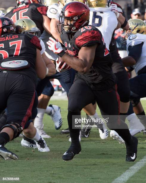 SDSU Rashaad Penny during the college football game between UC Davis Aggies and San Diego State University Aztecs on September 02 2017 at Qualcomm...