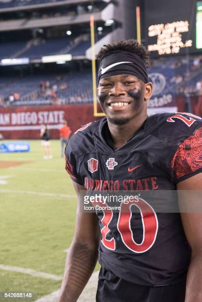 SDSU Rashaad Penny is all smiles after winning the college football game between UC Davis Aggies and San Diego State University Aztecs on September...