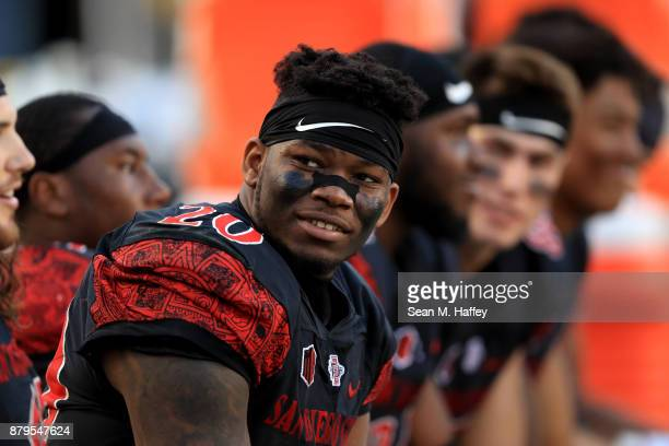 Rashaad Penny of the San Diego State Aztecs looks on from the bench during the second half of a game against the New Mexico Lobos at Qualcomm Stadium...