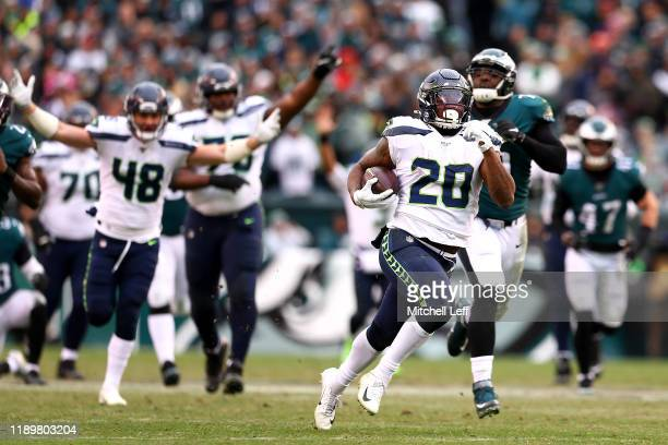 Rashaad Penny of the Seattle Seahawks rushes for a fourth quarter touchdown against the Philadelphia Eagles at Lincoln Financial Field on November...