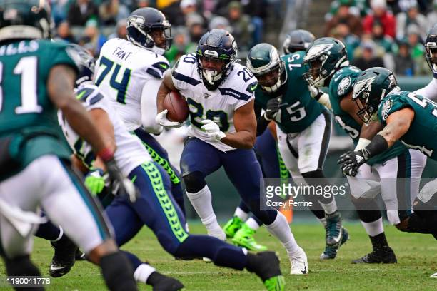 Rashaad Penny of the Seattle Seahawks rushes for yards during the second quarter at Lincoln Financial Field on November 24, 2019 in Philadelphia,...