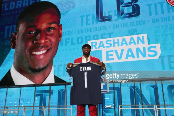 Rashaan Evans of Alabama poses after being picked overall by the Tennessee Titans during the first round of the 2018 NFL Draft at ATT Stadium on...