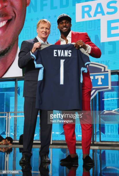 Rashaan Evans of Alabama poses with NFL Commissioner Roger Goodell after being picked overall by the Tennessee Titans during the first round of the...