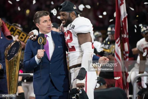 Rashaan Evans of the Alabama Crimson Tide speaks with Rece Davis of ESPN after defeating the Georgia Bulldogs during the College Football Playoff...