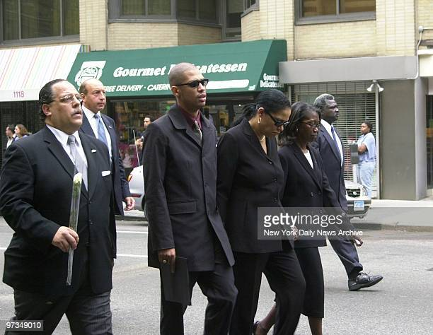 Rashad and Diane Haughton Aaliyah's brother and mother lead mourners along Madison Ave from the Frank E Campbell Funeral Chapel on E 81st St to St...