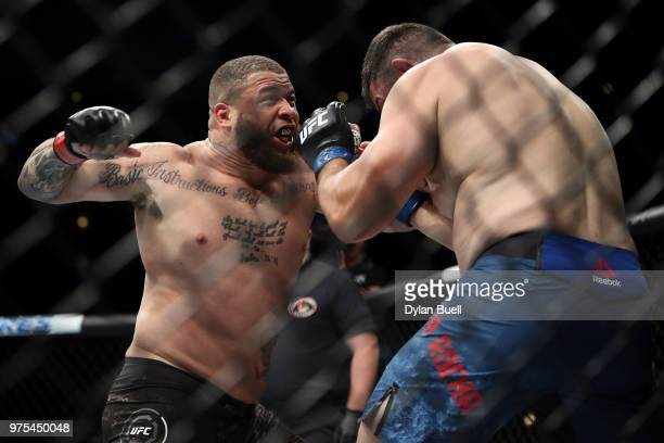 Rashad Couler attempts a punch against Chris De La Rocha in the first round in their heavyweight bout during the UFC 225 Whittaker v Romero 2 event...