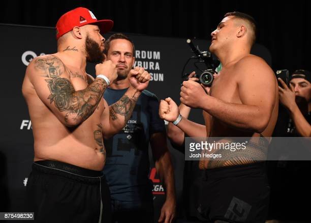 Rashad Coulter and Tai Tuivasa face off during the UFC Fight Night weighin on November 18 2017 in Sydney Australia
