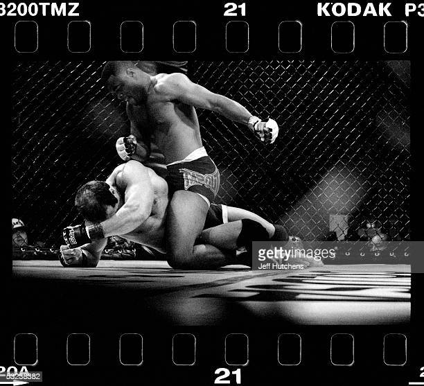 Rashad Evans and Brian Pardoe battle with ferocity during a Gladiator Challenge cage match at Colusa Casino in Colusa, California, USA on June 2,...