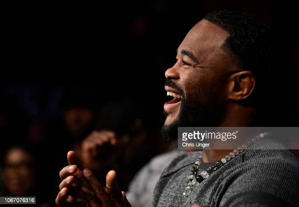 Rashad Evans former UFC light heavyweight champion and teammate of Kamaru Usman reacts after Usman's victory over Rafael Dos Anjos during The...