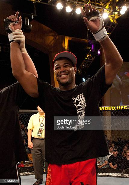 Rashad Evans is victorious over Stephan Bonnar at UFC Fight Night 5 at the Joint at the Hard Rock on June 28 2006 in Las Vegas Nevada