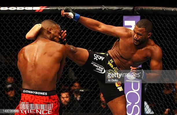 Rashad Evans kicks Jon Jones during their light heavyweight title bout for UFC 145 at Philips Arena on April 21 2012 in Atlanta Georgia