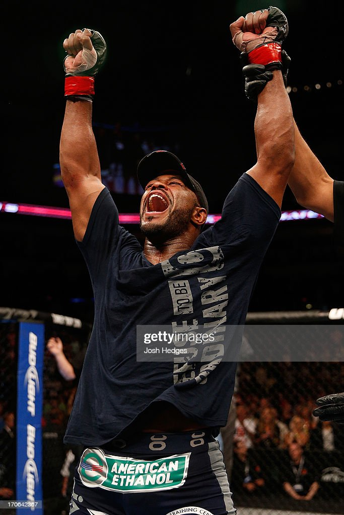 Rashad Evans reacts after his split decision victory over Dan Henderson in their light heavyweight fight during the UFC 161 event at the MTS Centre on June 15, 2013 in Winnipeg, Manitoba, Canada.