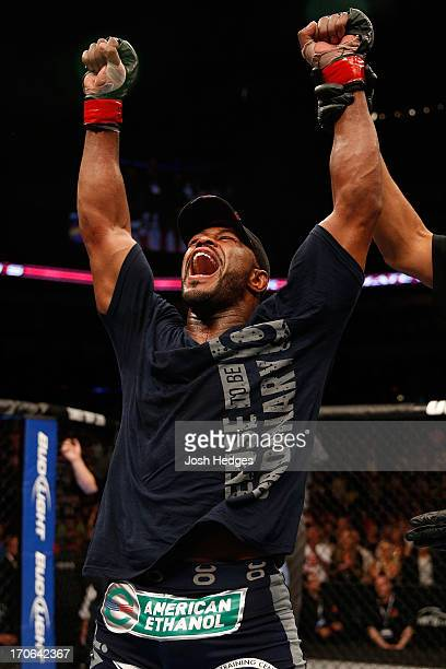Rashad Evans reacts after his split decision victory over Dan Henderson in their light heavyweight fight during the UFC 161 event at the MTS Centre...