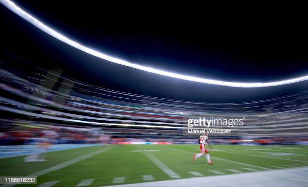 Rashad Fenton of the Kansas City Chiefs warms up before the game against the Los Angeles Chargers at Estadio Azteca on November 18 2019 in Mexico...