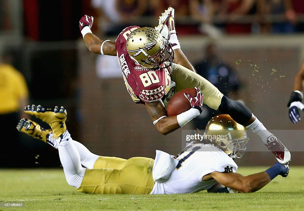 Rashad Greene #80 of the Florida State Seminoles is hit by Matthias Farley #41 of the Notre Dame Fighting Irish during their game at Doak Campbell Stadium on October 18, 2014 in Tallahassee, Florida.
