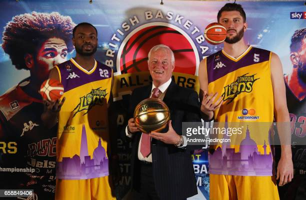 Rashad Hassan Barry Hearn and Zak Welles are pictured during an announcement by Barry Hearn and Matchroom Sport on March 28 2017 at the O2 in London...