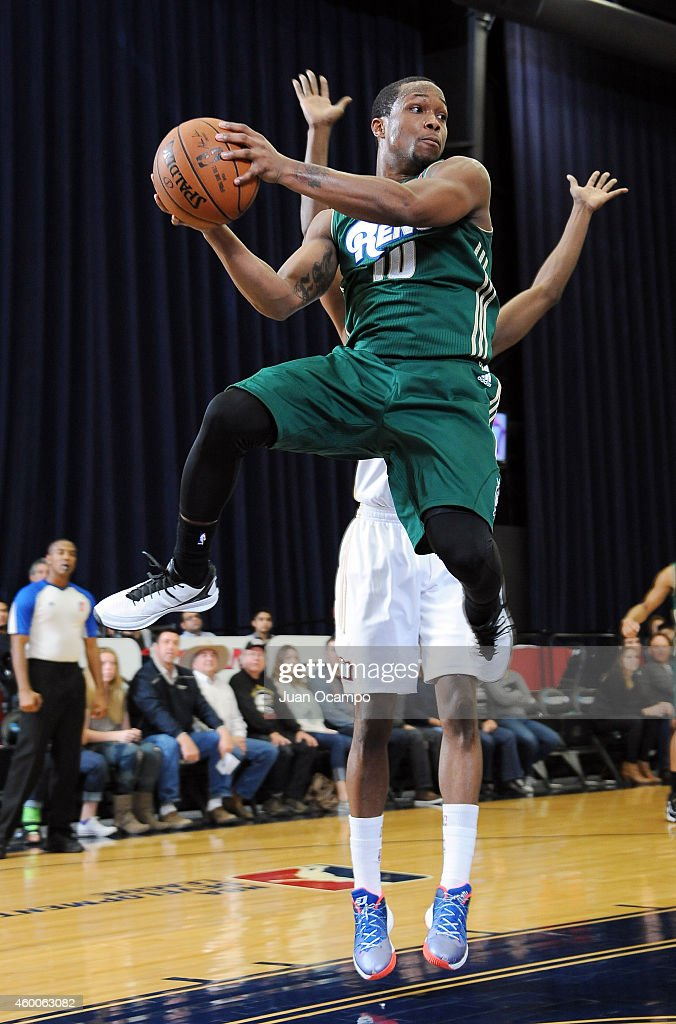 Ra'shad James #10 of the Reno Bighorns goes to the basket against the Bakersfield Jam during a D-League game on December 5, 2014 at Dignity Health Event Center in Bakersfield, California.