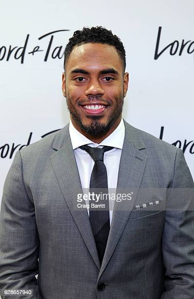 Rashad Jennings attends Guys' Night Out at Lord Taylor with Sterling Shepard Jason Pierre Paul and Frankie Edgar on December 8 2016 in New York City
