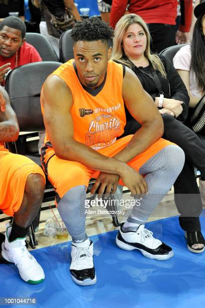 Rashad Jennings attends Monster Energy Outbreak $50K Charity Challenge celebrity basketball game at UCLA on July 17 2018 in Los Angeles California